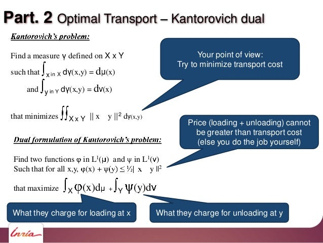 Part. 2 Optimal Transport Kantorovich dual Find a measure defined on X x Y such that x in X d (x,y) = d (x) and y in Y d (...