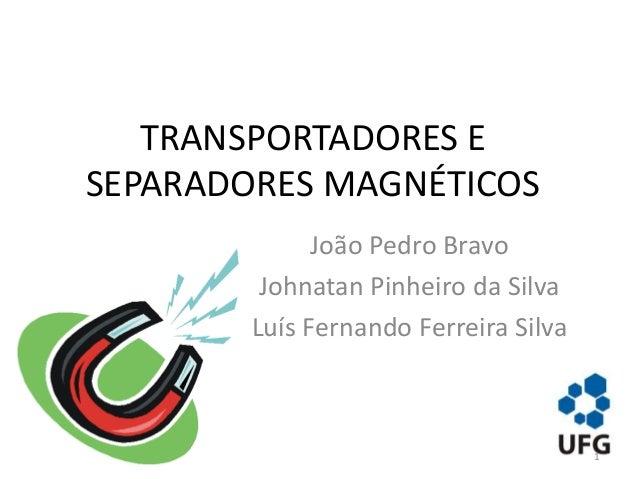 TRANSPORTADORES E SEPARADORES MAGNÉTICOS João Pedro Bravo Johnatan Pinheiro da Silva Luís Fernando Ferreira Silva 1