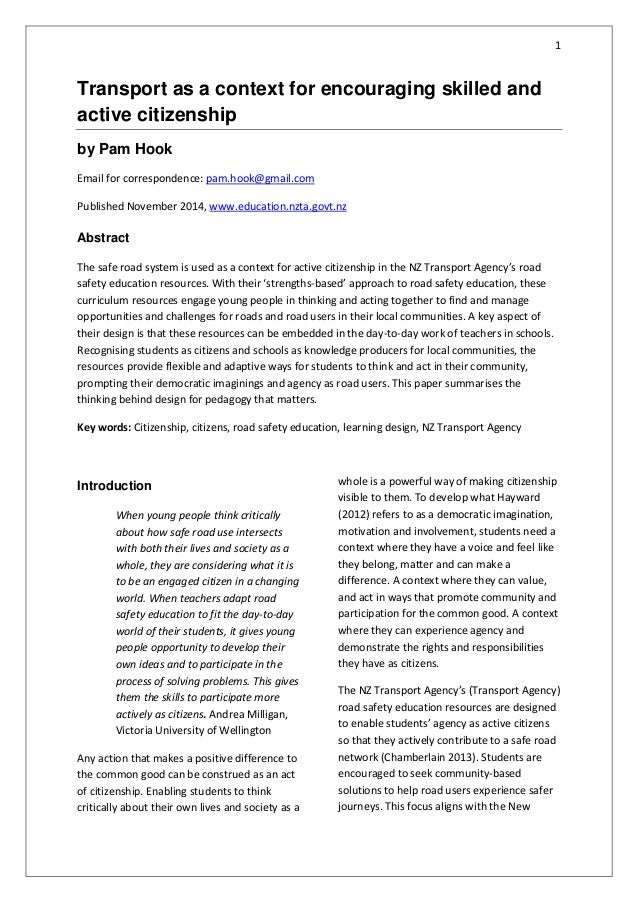1 Transport as a context for encouraging skilled and active citizenship by Pam Hook Email for correspondence: pam.hook@gma...