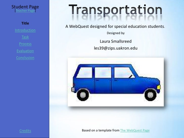Student Page [Teacher Page]     Title                  A WebQuest designed for special education students. Introduction   ...