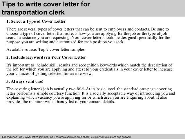 Transportation clerk cover letter