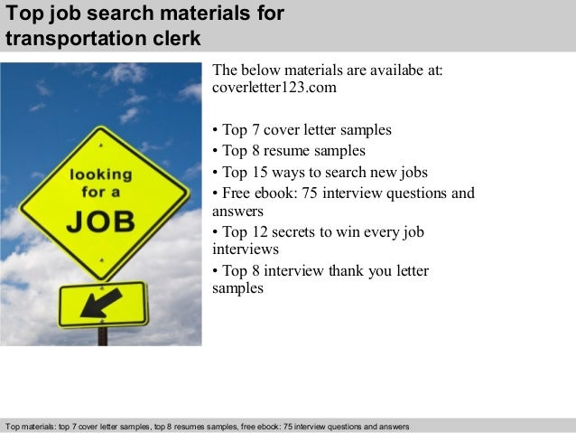 5 top job search materials for transportation clerk - Transportation Clerk Sample Resume