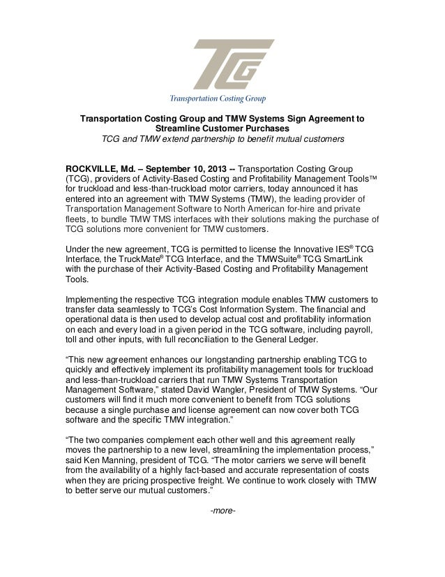 Transportation Costing Group And TMW Systems Sign Agreement To Streamline  Customer Purchases TCG And TMW Extend ...  Partnership Agreement Between Two Companies
