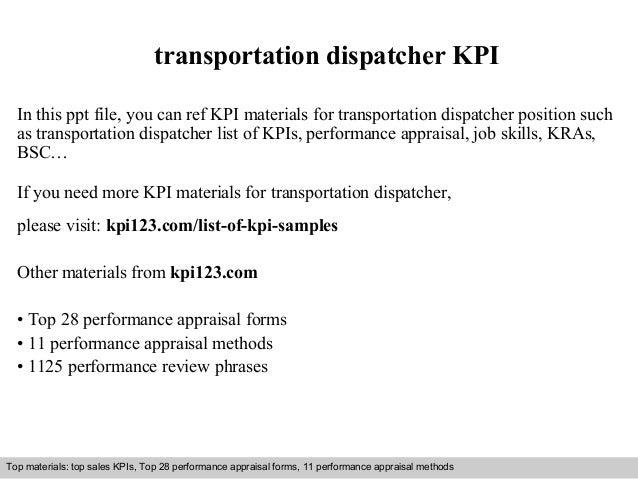 Transportation dispatcher kpi