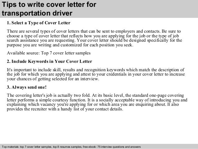 Transportation driver cover letter