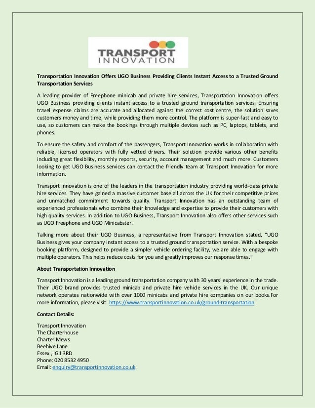 Transportation innovation offers ugo business providing