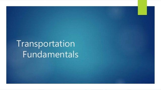 Transportation Fundamentals