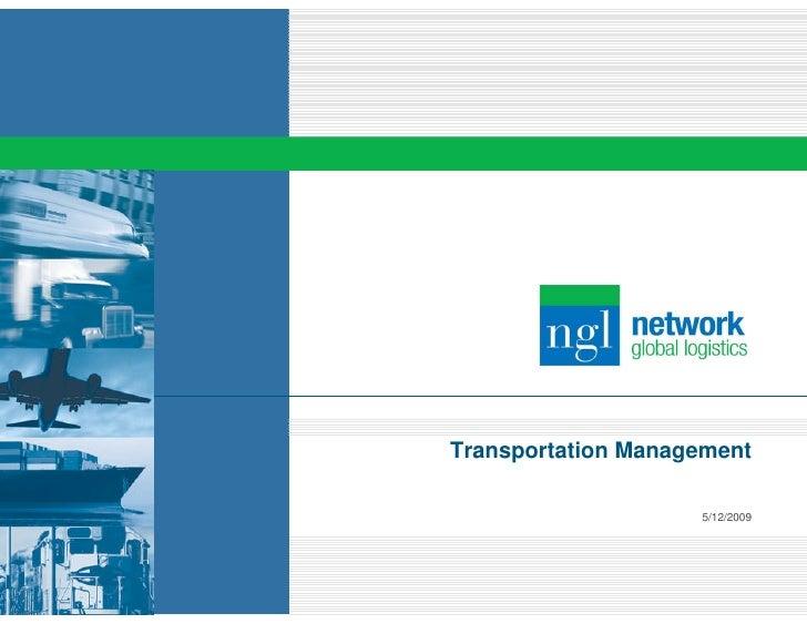 Transportation Management                      5/12/2009
