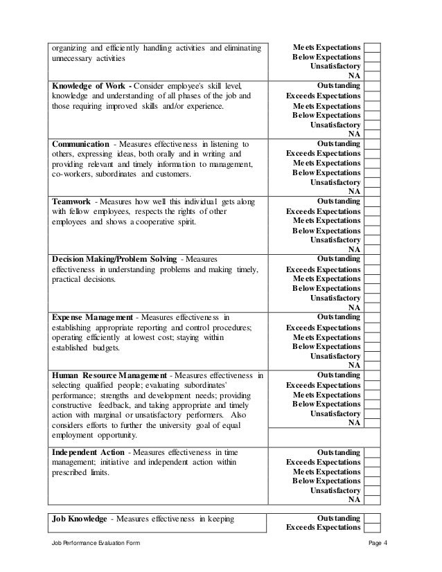 employee work performance evaluation form