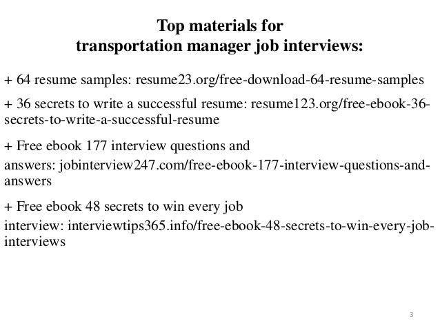 Transportation Manager Resume Sample Pdf Ebook Free Download