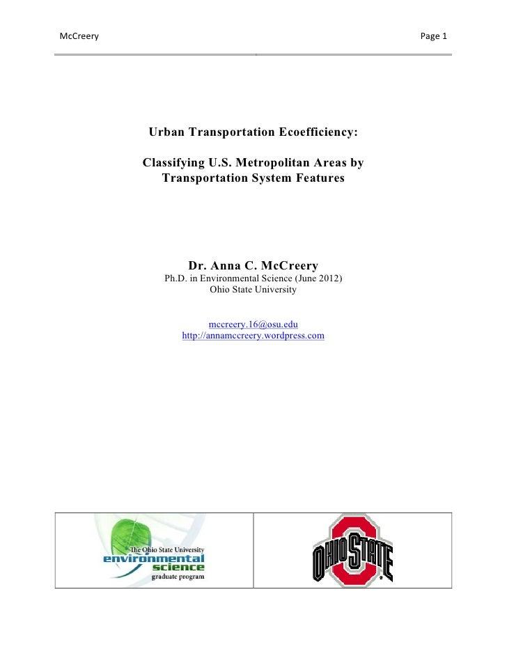 McCreery                                                           Page 1                 Urban Transportation Ecoef...
