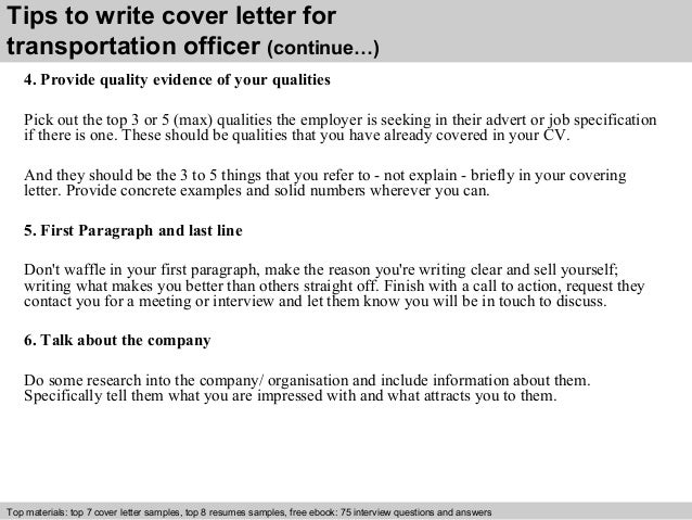 Transportation officer cover letter