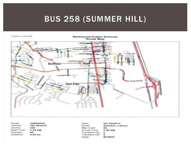 BUS 258 (SUMMER HILL) Start Point End Point