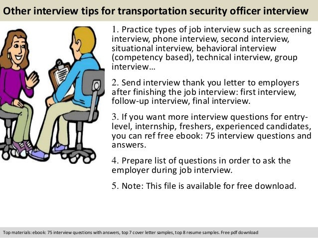 free pdf download 11 other interview tips for transportation security officer - Transportation Security Officer