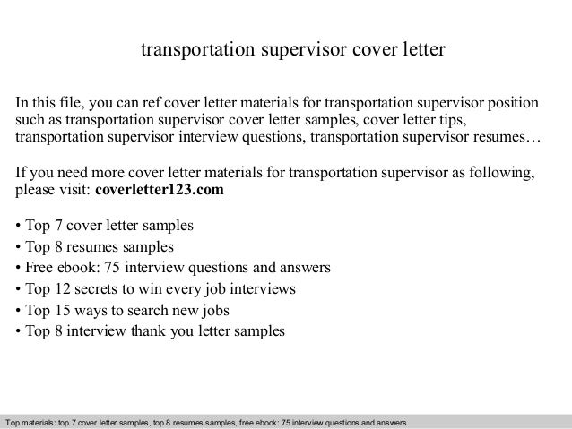 Transportation supervisor cover letter sample how to write evaluation of a project