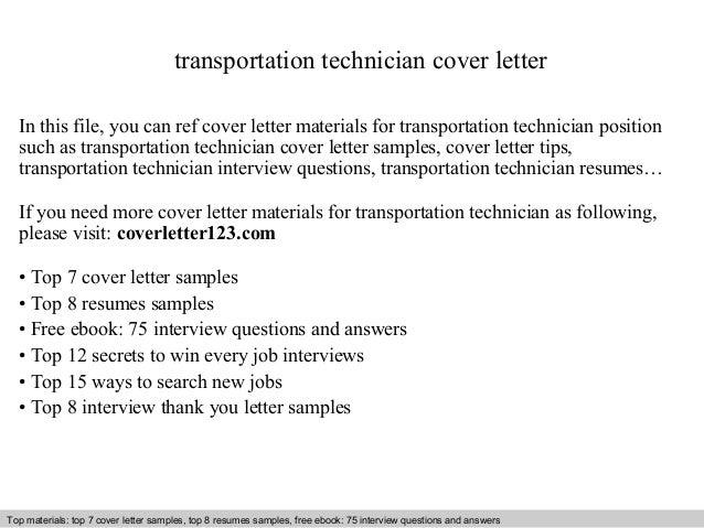 Transportation technician cover letter