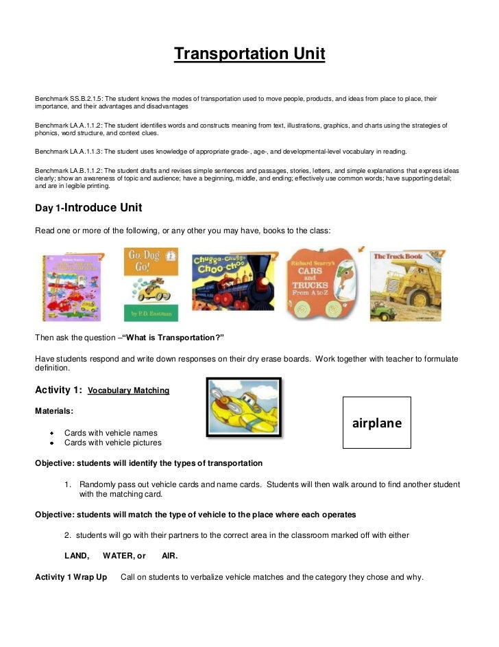Transportation Unit Lesson Plans 8420742 on History Worksheets For Kindergarten