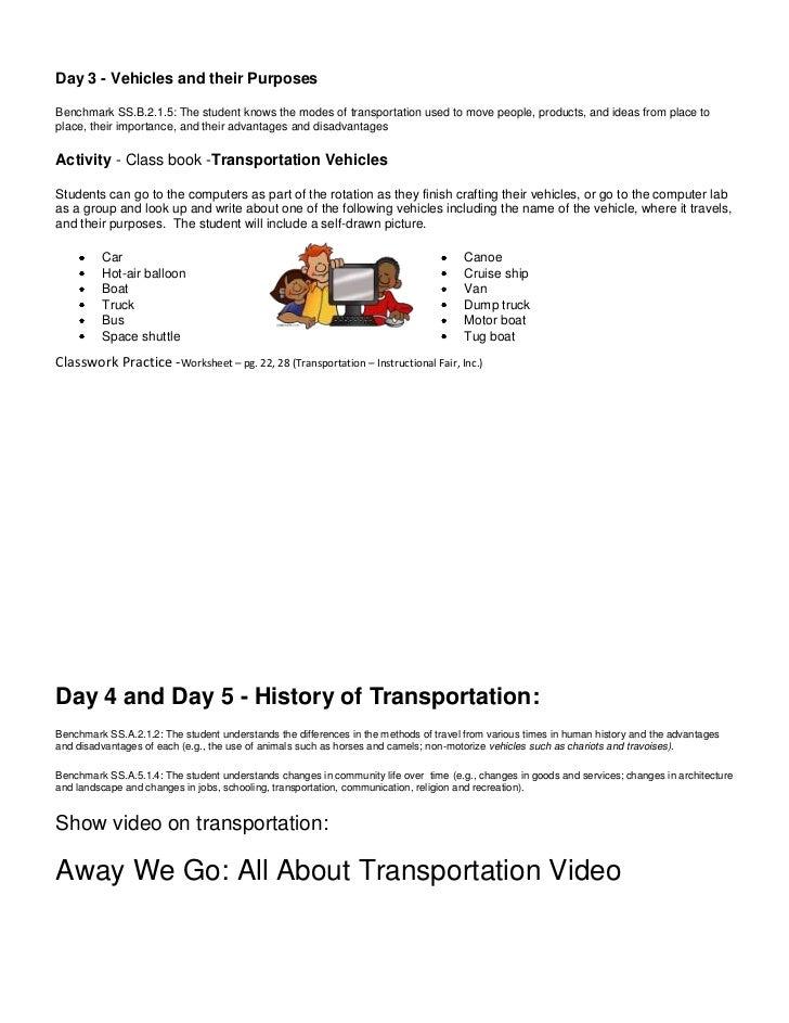 Transportation Unit lesson plans