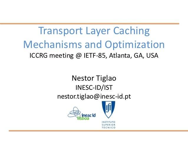 Transport Layer CachingMechanisms and Optimization ICCRG meeting @ IETF-85, Atlanta, GA, USA              Nestor Tiglao   ...