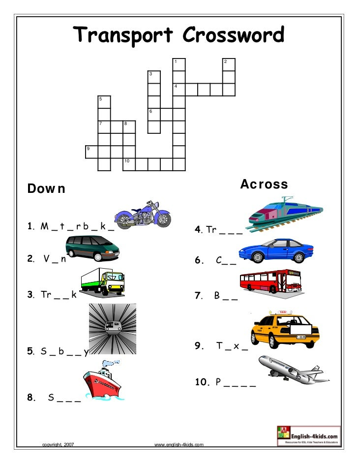 transport crossword. Black Bedroom Furniture Sets. Home Design Ideas