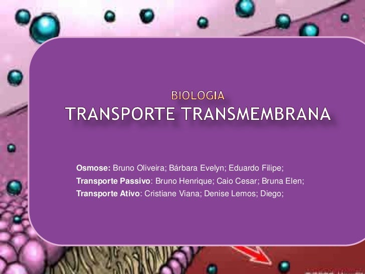 BiologiaTransporte Transmembrana<br />Osmose: Bruno Oliveira; Bárbara Evelyn; Eduardo Filipe;<br />Transporte Passivo: Bru...