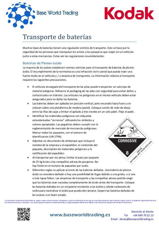 La información contenida en este folleto es, según nuestro criterio correcta. No obstante, como las condiciones en las que...
