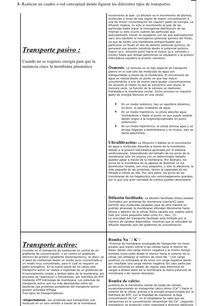 Transporte pasivo for Tipos de cuadros
