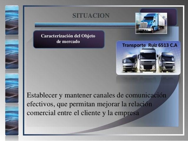 Caracterización del Objeto de mercado SITUACION Transporte Ruiz 6513 C.A Establecer y mantener canales de comunicación efe...