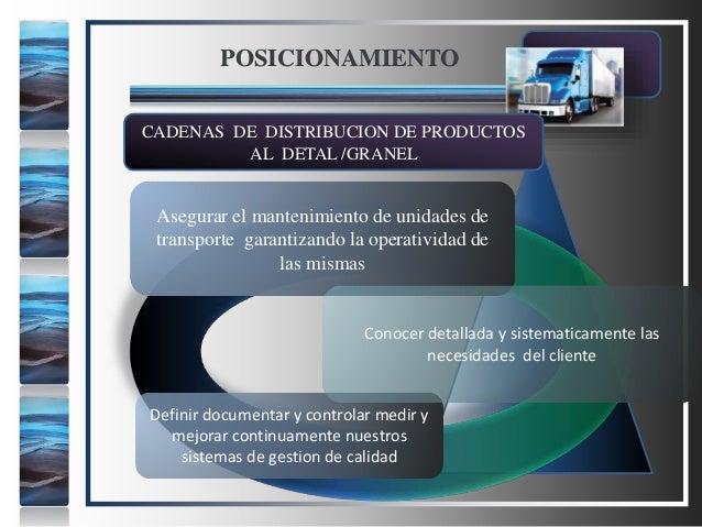 POSICIONAMIENTO CADENAS DE DISTRIBUCION DE PRODUCTOS AL DETAL /GRANEL Asegurar el mantenimiento de unidades de transporte ...