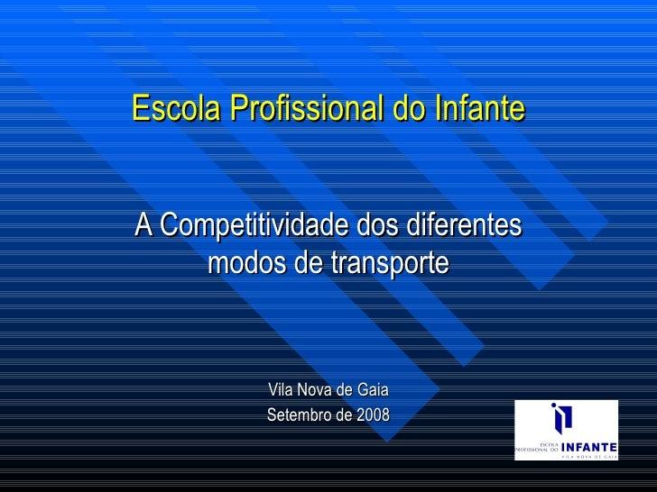 Escola Profissional do Infante A Competitividade dos diferentes modos de transporte Vila Nova de Gaia Setembro de 2008