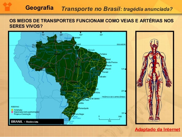 Geografia Transporte no Brasil: tragédia anunciada?OS MEIOS DE TRANSPORTES FUNCIONAM COMO VEIAS E ARTÉRIAS NOSSERES VIVOS?...