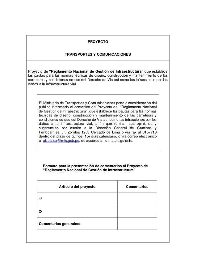 """PROYECTO TRANSPORTES Y COMUNICACIONES Proyecto de """"Reglamento Nacional de Gestión de Infraestructura"""" que establece las pa..."""