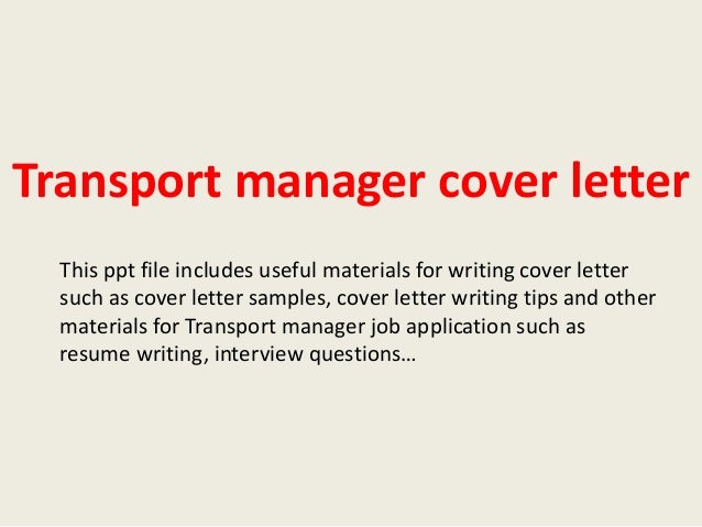 resume cover letter for operations manager transportation manager ...