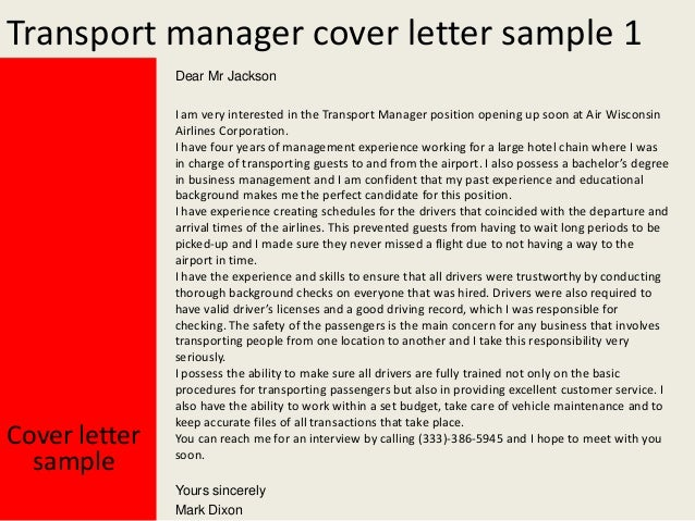 transportation manager cover letter