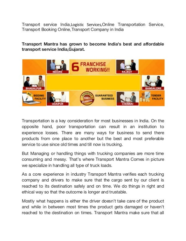 Transport service in India | Logistic services | Online