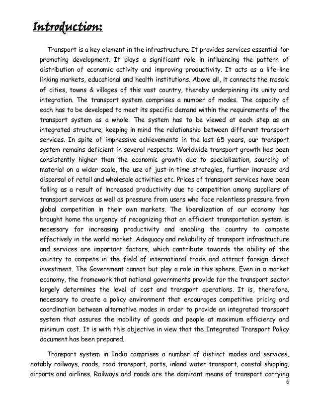 an essay on transportation infrastructure and the governments role in facilitating transport project Very short essay on transport and communication transfer of commodities or people from one place to another place is known as transport the things through which transfer takes place are known as vehicles or motors.