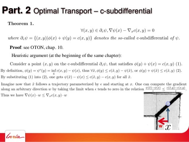 Part. 2 Optimal Transport – c-subdifferential Proof: see OTON, chap. 10. Heuristic argument (at the beginning of the same ...