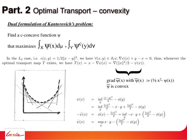 Part. 2 Optimal Transport – convexity Dual formulation of Kantorovich's problem: Find a c-concave function ψ that maximize...