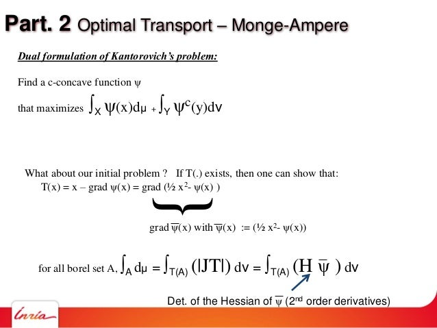 Part. 2 Optimal Transport – Monge-Ampere What about our initial problem ? If T(.) exists, then one can show that: T(x) = x...