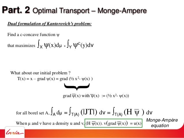 Part. 2 Optimal Transport – Monge-Ampere What about our initial problem ? T(x) = x – grad ψ(x) = grad (½ x2- ψ(x) ) { When...