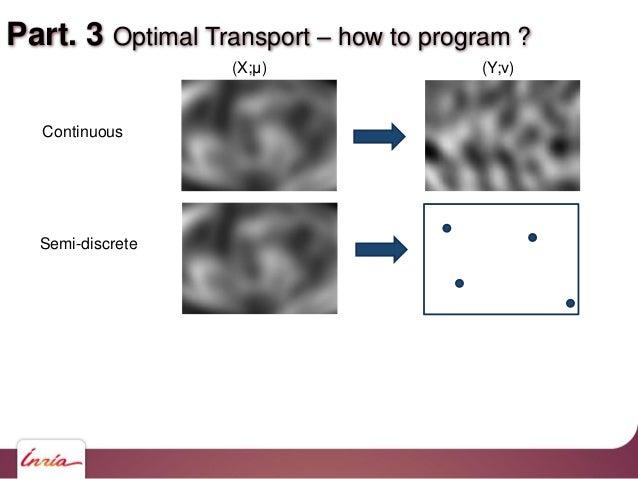 Part. 3 Optimal Transport – how to program ? Continuous Semi-discrete (X;μ) (Y;ν)