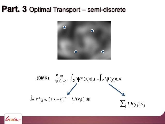 Part. 3 Optimal Transport – semi-discrete ∫X ψc (x)dμ + ∫Y ψ(y)dν Sup ψ Є ψc (DMK) ∫X inf yj ЄY [    x – yj   2 - ψ(yj) ] ...