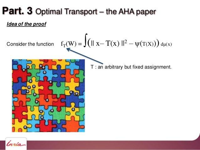 Part. 3 Optimal Transport – the AHA paper Idea of the proof Consider the function fT(W) = ∫(   x– T(x)   2 – ψ(T(X)))dμ(x)...