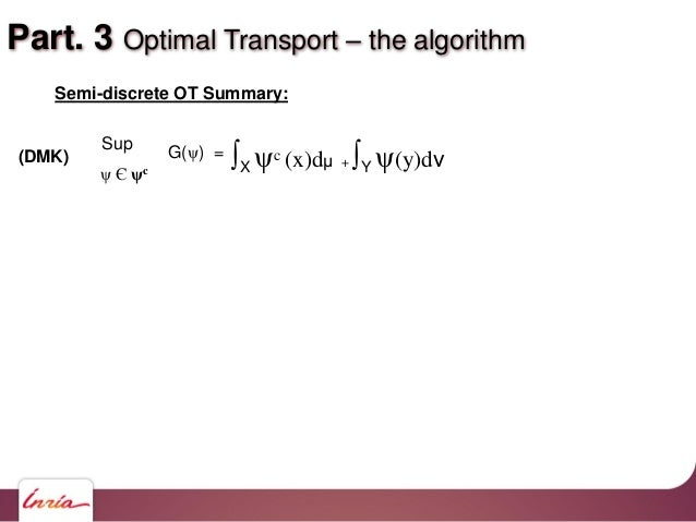 Part. 3 Optimal Transport – the algorithm Semi-discrete OT Summary: ∫X ψc (x)dμ + ∫Y ψ(y)dν Sup ψ Є ψc (DMK) G(ψ) =
