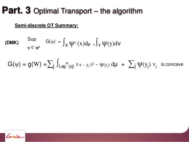 Part. 3 Optimal Transport – the algorithm Semi-discrete OT Summary: G(ψ) = g(W) =∑j ∫Lag ψ (yj)    x – yj   2 - ψ(yj) dμ +...