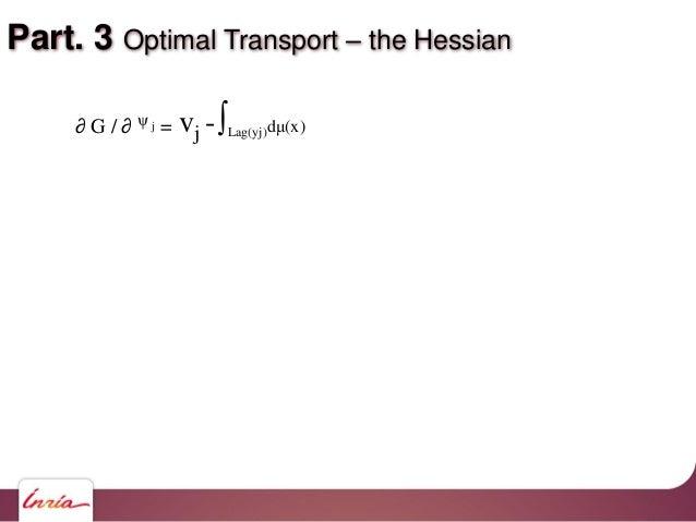 Part. 3 Optimal Transport – the Hessian vj -∫Lag(yj)dμ(x)∂ G / ∂ ψ j =