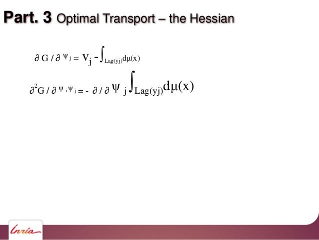 Part. 3 Optimal Transport – the Hessian vj -∫Lag(yj)dμ(x)∂ G / ∂ ψ j = ∂ 2 G / ∂ ψ i ψ j = - ∂ / ∂ ψ j ∫Lag(yj)dμ(x)