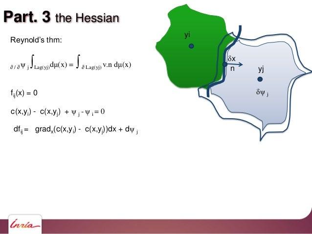 Part. 3 the Hessian yi yj Reynold's thm: ∂ / ∂ ψ j ∫Lag(yj)dμ(x) = ∫∂ Lag(yj) v.n dμ(x) fij(x) = 0 c(x,yi) - c(x,yj) + ψ j...