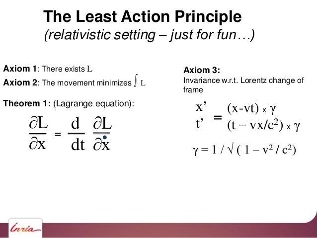 Axiom 1: There exists L Axiom 2: The movement minimizes ∫ L Theorem 1: (Lagrange equation): ∂L ∂x d dt ∂L ∂x = Axiom 3: In...