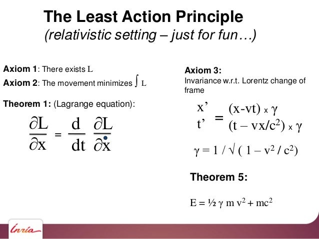 The Least Action Principle (relativistic setting – just for fun…) Axiom 1: There exists L Axiom 2: The movement minimizes ...